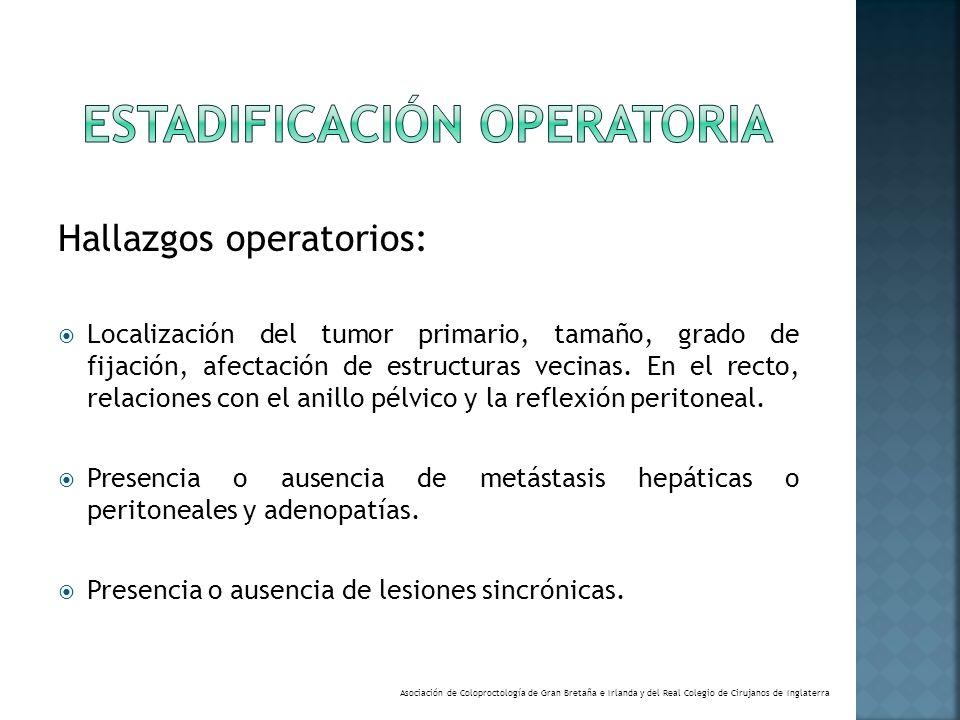 Hallazgos operatorios: Localización del tumor primario, tamaño, grado de fijación, afectación de estructuras vecinas. En el recto, relaciones con el a