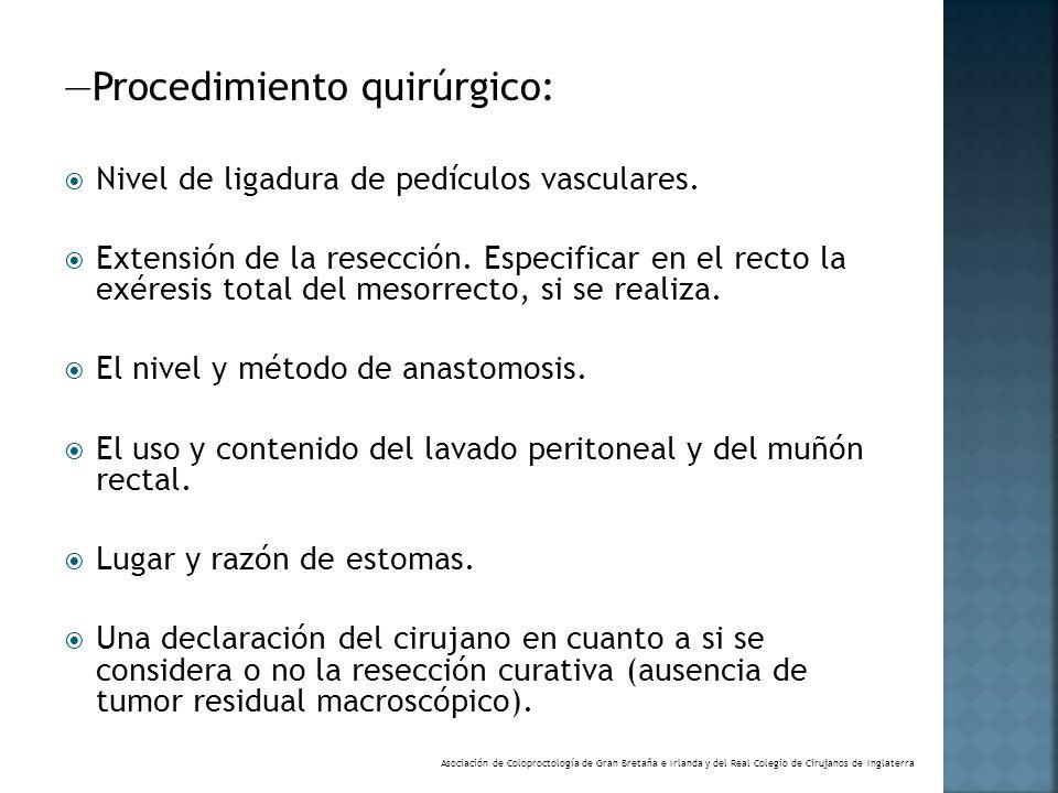 Procedimiento quirúrgico: Nivel de ligadura de pedículos vasculares. Extensión de la resección. Especificar en el recto la exéresis total del mesorrec