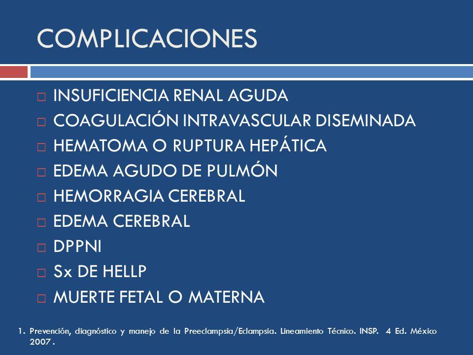 COMPLICACIONES INSUFICIENCIA RENAL AGUDA COAGULACIÓN INTRAVASCULAR DISEMINADA HEMATOMA O RUPTURA HEPÁTICA EDEMA AGUDO DE PULMÓN HEMORRAGIA CEREBRAL ED