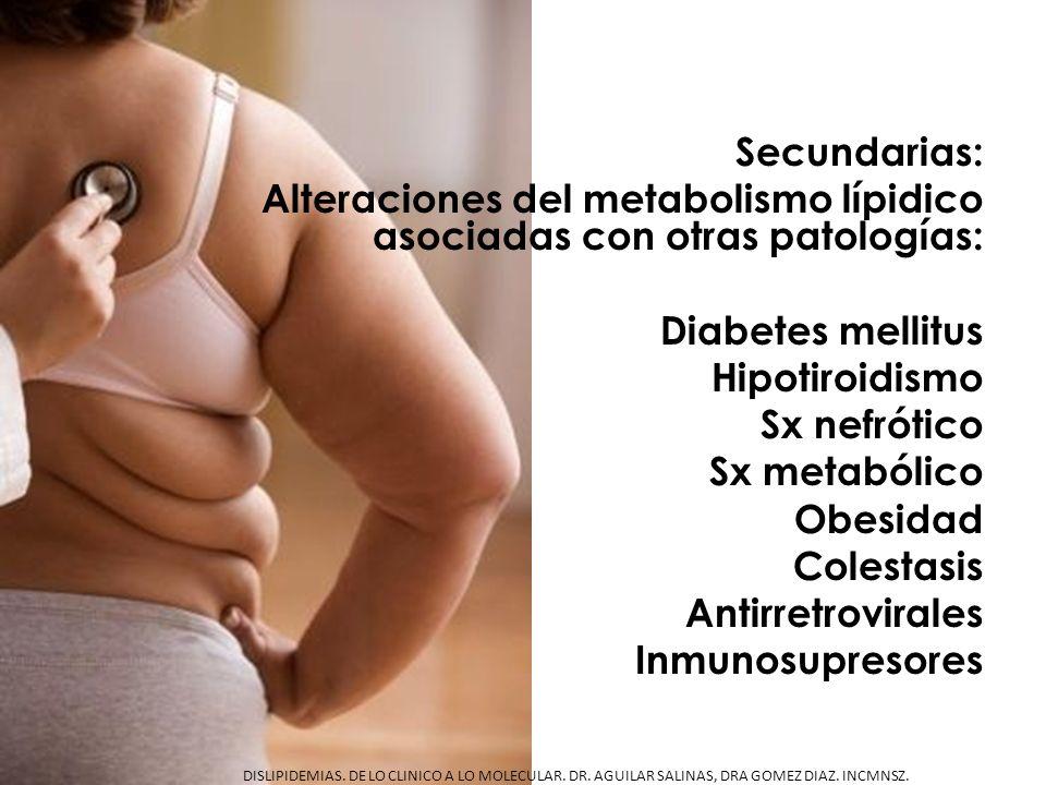 Secundarias: Alteraciones del metabolismo lípidico asociadas con otras patologías: Diabetes mellitus Hipotiroidismo Sx nefrótico Sx metabólico Obesida