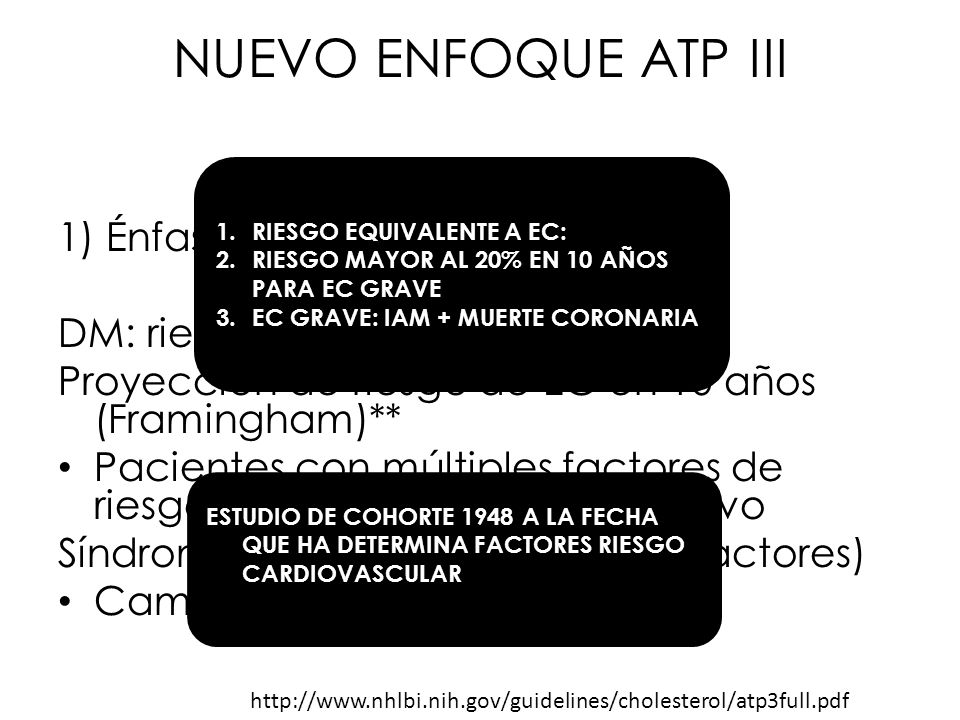 NUEVO ENFOQUE ATP III 1) Énfasis en factores de riesgo DM: riesgo equivalente EC Proyección de riesgo de EC en 10 años (Framingham)** Pacientes con mú