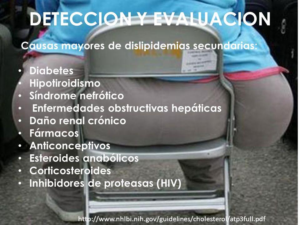 DETECCION Y EVALUACION Causas mayores de dislipidemias secundarias: Diabetes Hipotiroidismo Síndrome nefrótico Enfermedades obstructivas hepáticas Dañ