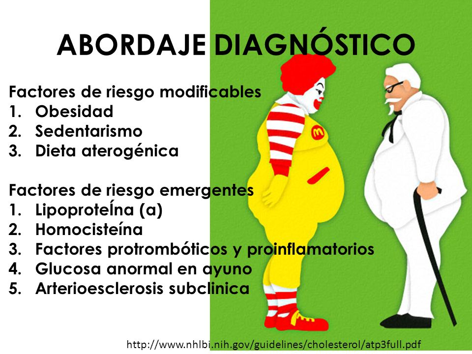 ABORDAJE DIAGNÓSTICO Factores de riesgo modificables 1.Obesidad 2.Sedentarismo 3.Dieta aterogénica Factores de riesgo emergentes 1.LipoproteÍna (a) 2.
