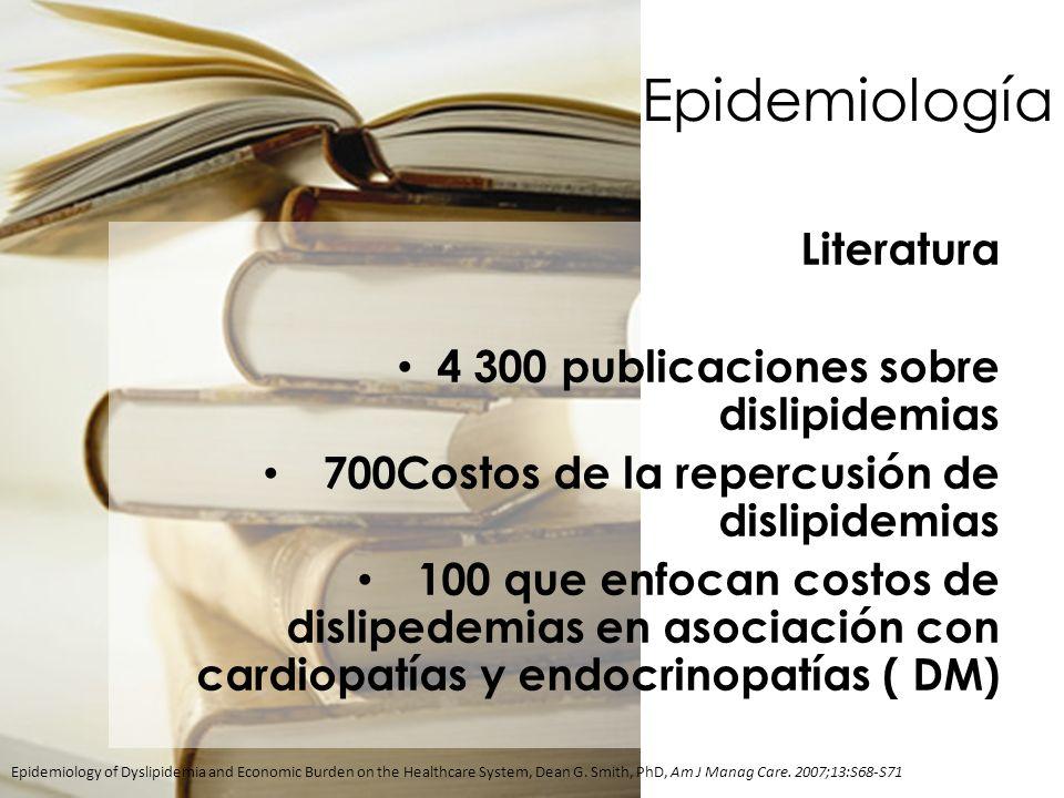Epidemiología Literatura 4 300 publicaciones sobre dislipidemias 700Costos de la repercusión de dislipidemias 100 que enfocan costos de dislipedemias