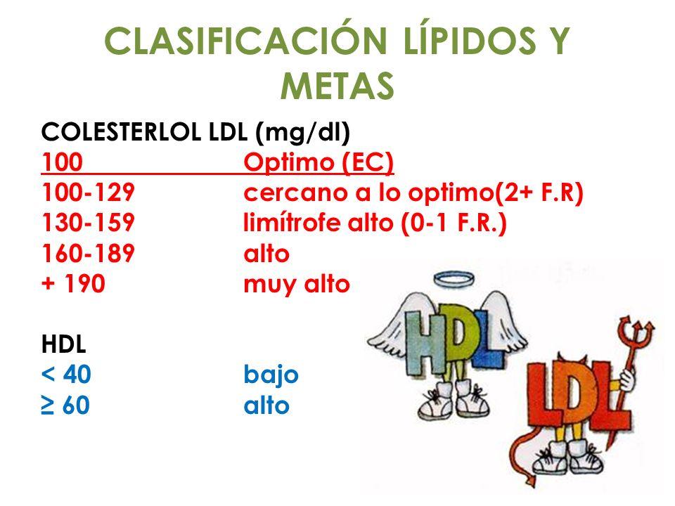 CLASIFICACIÓN LÍPIDOS Y METAS COLESTERLOL LDL (mg/dl) 100Optimo (EC) 100-129cercano a lo optimo(2+ F.R) 130-159limítrofe alto (0-1 F.R.) 160-189alto +