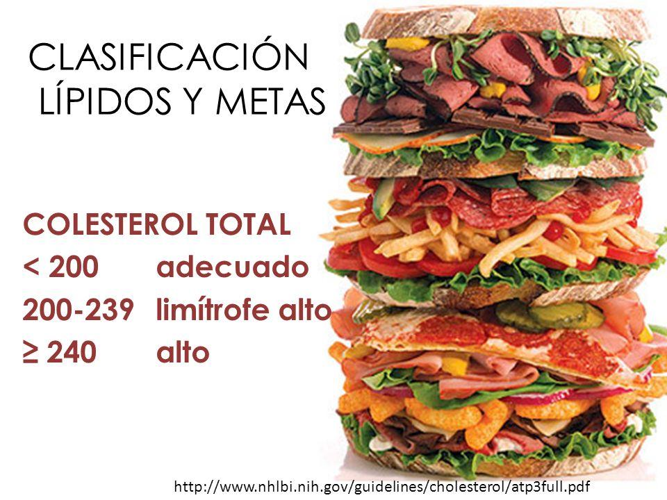 CLASIFICACIÓN LÍPIDOS Y METAS COLESTEROL TOTAL < 200adecuado 200-239limítrofe alto 240 alto http://www.nhlbi.nih.gov/guidelines/cholesterol/atp3full.p
