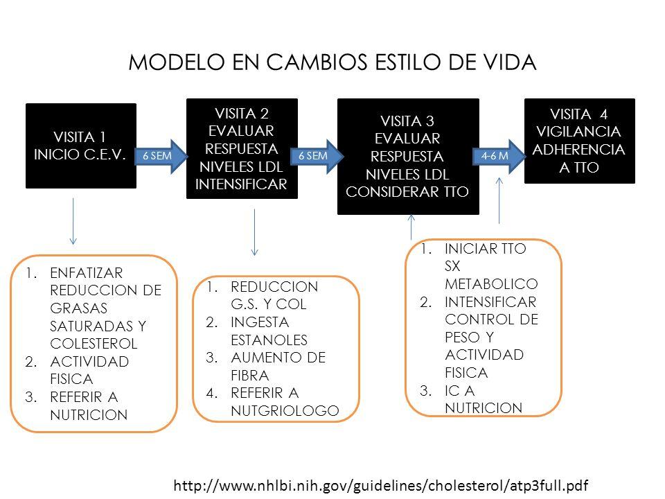 MODELO EN CAMBIOS ESTILO DE VIDA VISITA 1 INICIO C.E.V. VISITA 2 EVALUAR RESPUESTA NIVELES LDL INTENSIFICAR VISITA 3 EVALUAR RESPUESTA NIVELES LDL CON