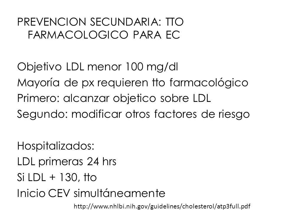 PREVENCION SECUNDARIA: TTO FARMACOLOGICO PARA EC Objetivo LDL menor 100 mg/dl Mayoría de px requieren tto farmacológico Primero: alcanzar objetico sob