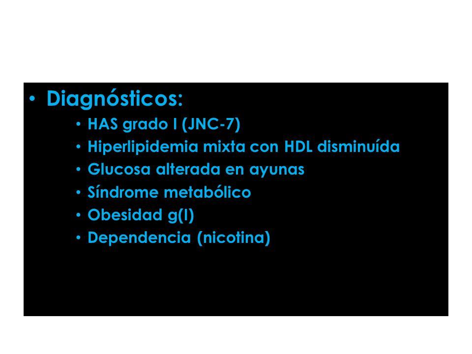 Diagnósticos: HAS grado I (JNC-7) Hiperlipidemia mixta con HDL disminuída Glucosa alterada en ayunas Síndrome metabólico Obesidad g(I) Dependencia (ni