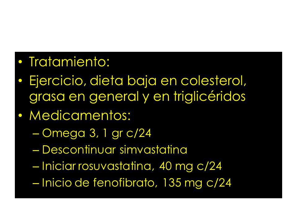 Tratamiento: Ejercicio, dieta baja en colesterol, grasa en general y en triglicéridos Medicamentos: – Omega 3, 1 gr c/24 – Descontinuar simvastatina –