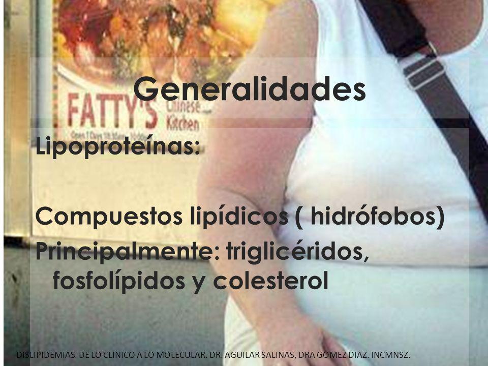 Generalidades Lipoproteínas: Compuestos lipídicos ( hidrófobos) Principalmente: triglicéridos, fosfolípidos y colesterol DISLIPIDEMIAS. DE LO CLINICO