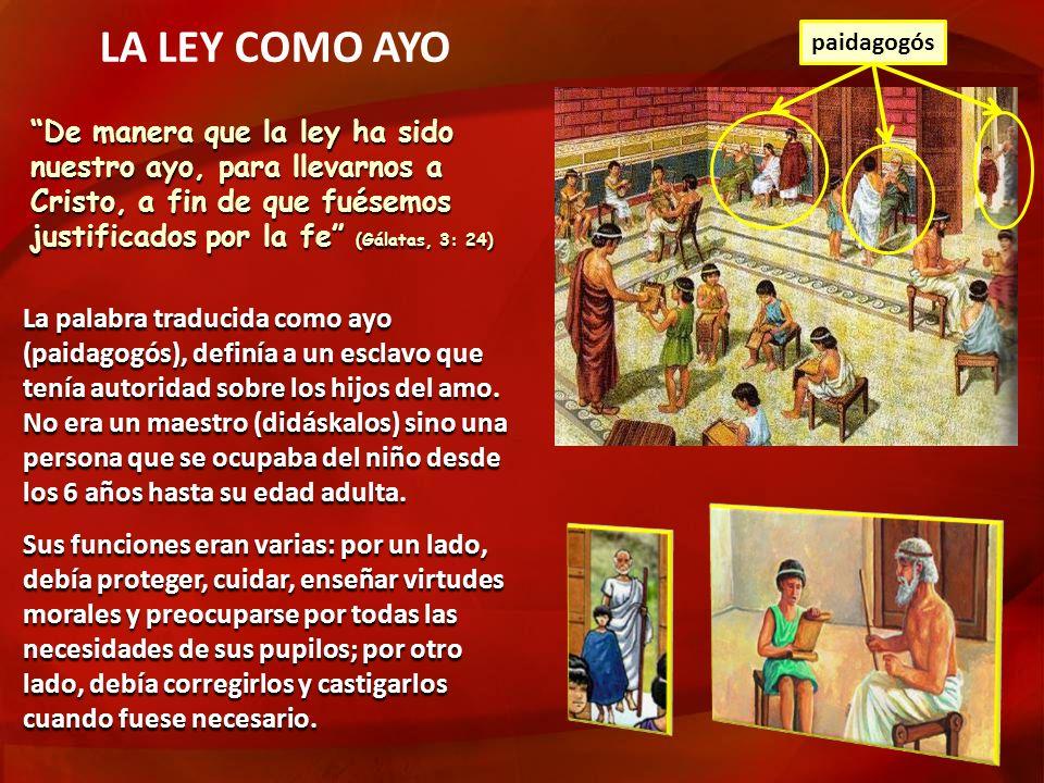 La palabra traducida como ayo (paidagogós), definía a un esclavo que tenía autoridad sobre los hijos del amo. No era un maestro (didáskalos) sino una