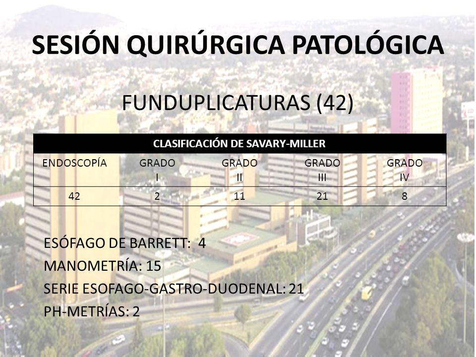 FUNDUPLICATURAS (42) ESÓFAGO DE BARRETT: 4 MANOMETRÍA: 15 SERIE ESOFAGO-GASTRO-DUODENAL: 21 PH-METRÍAS: 2 CLASIFICACIÓN DE SAVARY-MILLER ENDOSCOPÍAGRA
