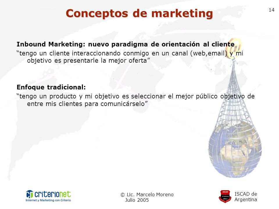 ISCAD de Argentina © Lic. Marcelo Moreno Julio 2005 14 Inbound Marketing: nuevo paradigma de orientación al cliente tengo un cliente interaccionando c