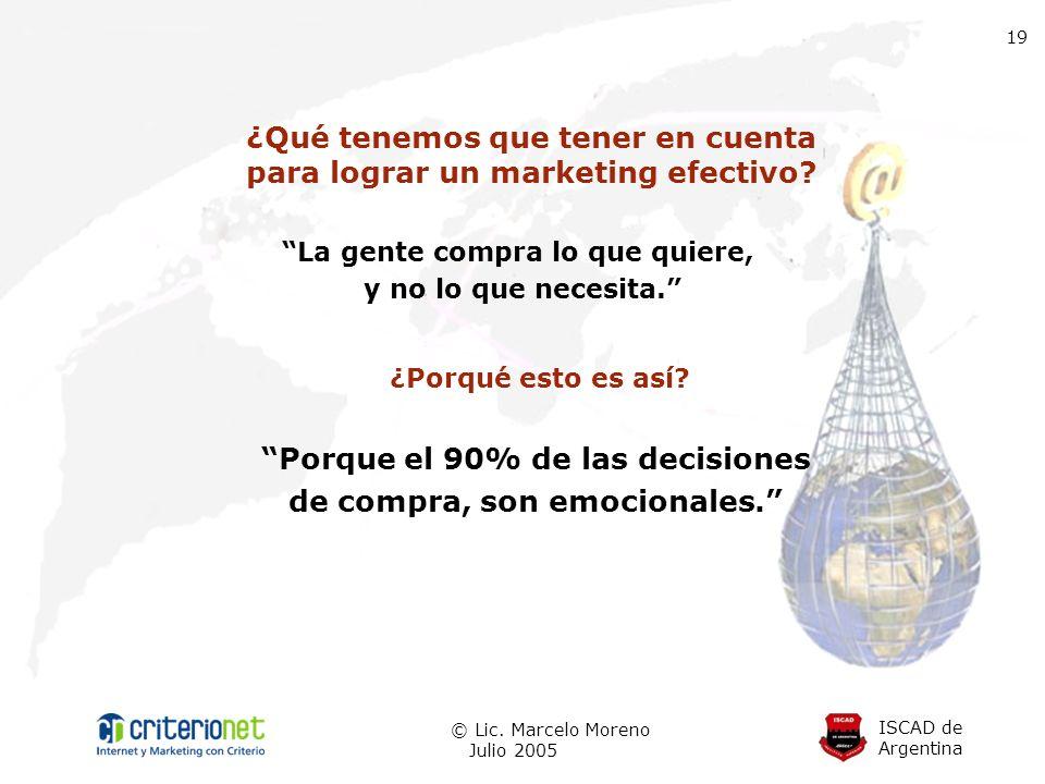 ISCAD de Argentina © Lic. Marcelo Moreno Julio 2005 19 ¿Qué tenemos que tener en cuenta para lograr un marketing efectivo? La gente compra lo que quie