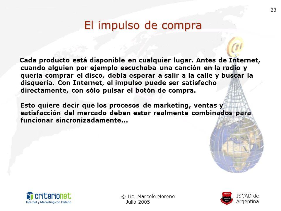 ISCAD de Argentina © Lic. Marcelo Moreno Julio 2005 23 El impulso de compra Cada producto está disponible en cualquier lugar. Antes de Internet, cuand