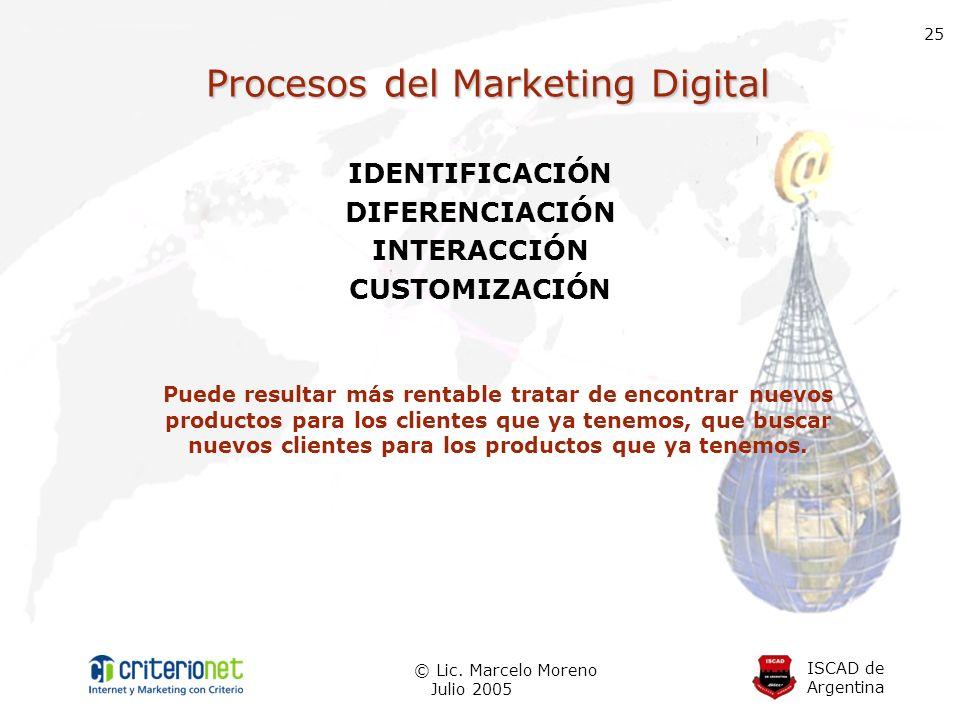 ISCAD de Argentina © Lic. Marcelo Moreno Julio 2005 25 Procesos del Marketing Digital IDENTIFICACIÓN DIFERENCIACIÓN INTERACCIÓN CUSTOMIZACIÓN Puede re