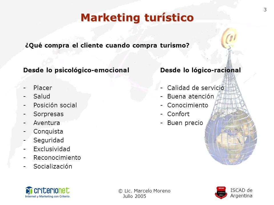 ISCAD de Argentina © Lic. Marcelo Moreno Julio 2005 3 Marketing turístico ¿Qué compra el cliente cuando compra turismo? Desde lo psicológico-emocional