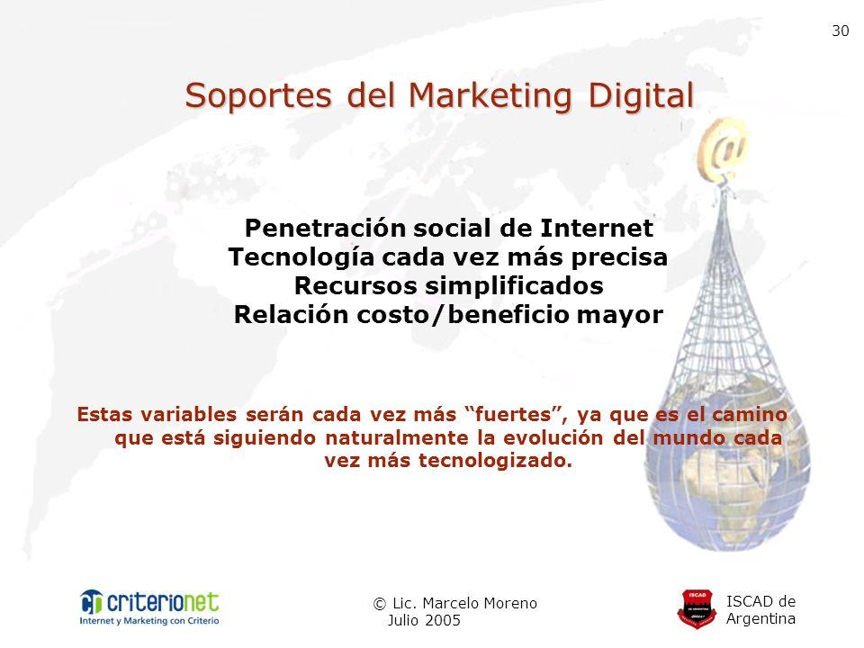 ISCAD de Argentina © Lic. Marcelo Moreno Julio 2005 30 Soportes del Marketing Digital Penetración social de Internet Tecnología cada vez más precisa R