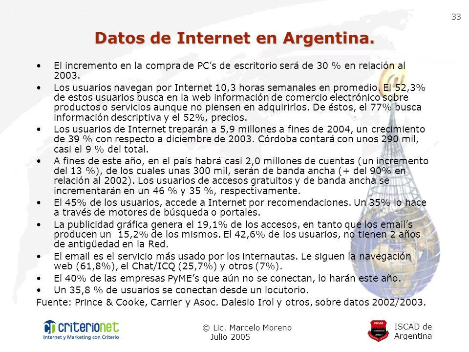 ISCAD de Argentina © Lic. Marcelo Moreno Julio 2005 33 El incremento en la compra de PCs de escritorio será de 30 % en relación al 2003. Los usuarios