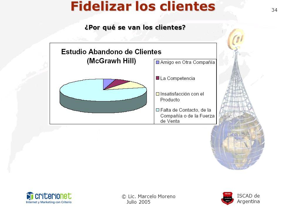ISCAD de Argentina © Lic. Marcelo Moreno Julio 2005 34 Fidelizar los clientes ¿Por qué se van los clientes?