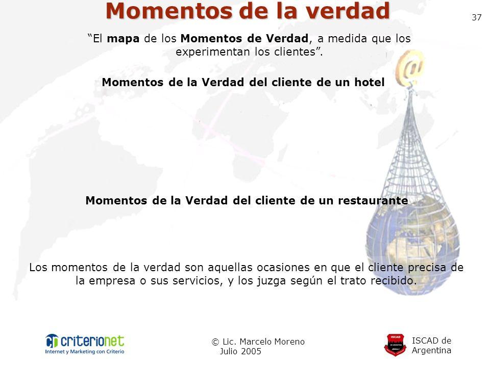 ISCAD de Argentina © Lic. Marcelo Moreno Julio 2005 37 Momentos de la verdad Momentos de la Verdad del cliente de un hotel Los momentos de la verdad s
