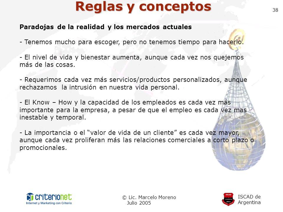 ISCAD de Argentina © Lic. Marcelo Moreno Julio 2005 38 Reglas y conceptos Paradojas de la realidad y los mercados actuales - Tenemos mucho para escoge