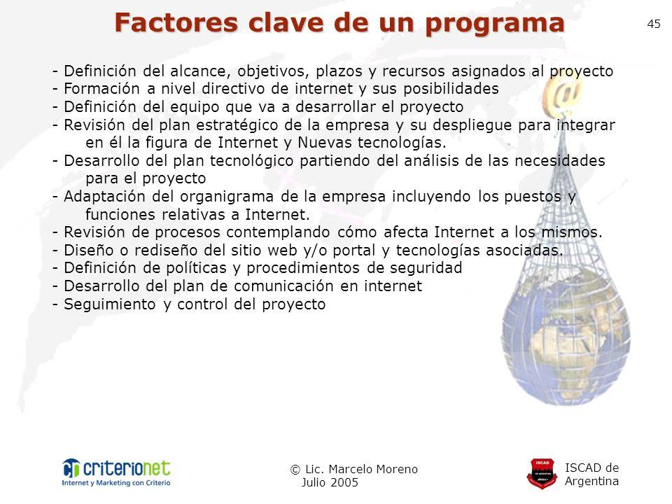 ISCAD de Argentina © Lic. Marcelo Moreno Julio 2005 45 Factores clave de un programa - Definición del alcance, objetivos, plazos y recursos asignados