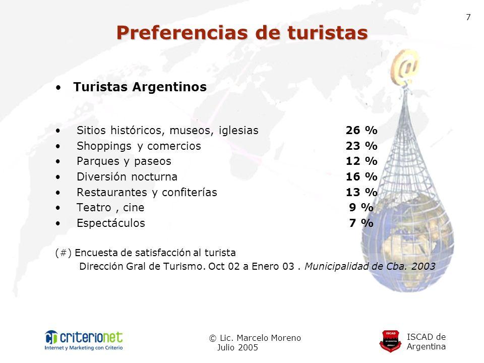 ISCAD de Argentina © Lic. Marcelo Moreno Julio 2005 7 Turistas Argentinos Sitios históricos, museos, iglesias 26 % Shoppings y comercios 23 % Parques