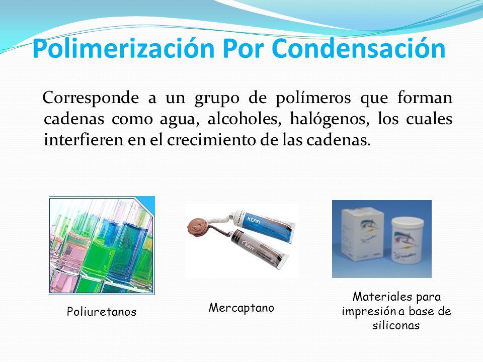 Polimerización Por Condensación Corresponde a un grupo de polímeros que forman cadenas como agua, alcoholes, halógenos, los cuales interfieren en el c