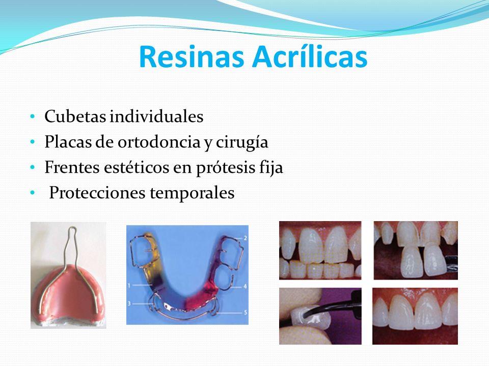 Resinas Acrílicas Cubetas individuales Placas de ortodoncia y cirugía Frentes estéticos en prótesis fija Protecciones temporales
