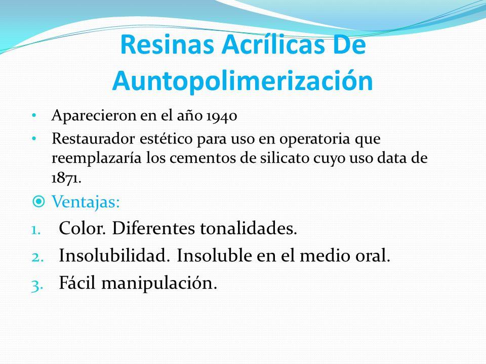 Resinas Acrílicas De Auntopolimerización Aparecieron en el año 1940 Restaurador estético para uso en operatoria que reemplazaría los cementos de silic