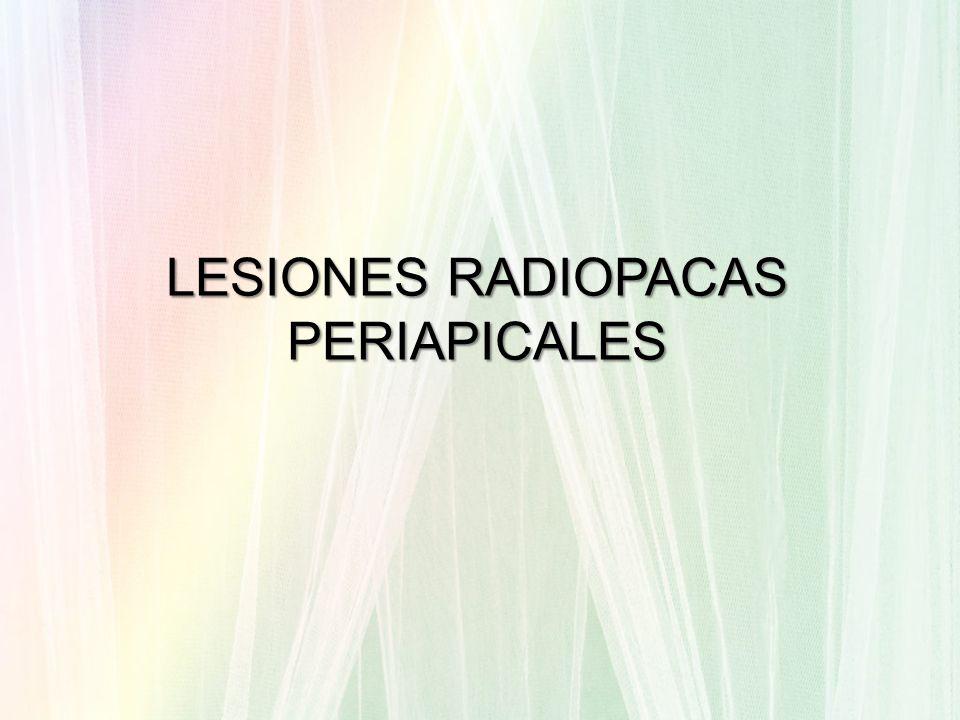 LESIONES PERIAPICALES Patologías de origen que involucran a los tejidos perirradiculares Se producen por salidas de sustancias irritantes o bacterias desde el interior del sistema de conductos radiculares.