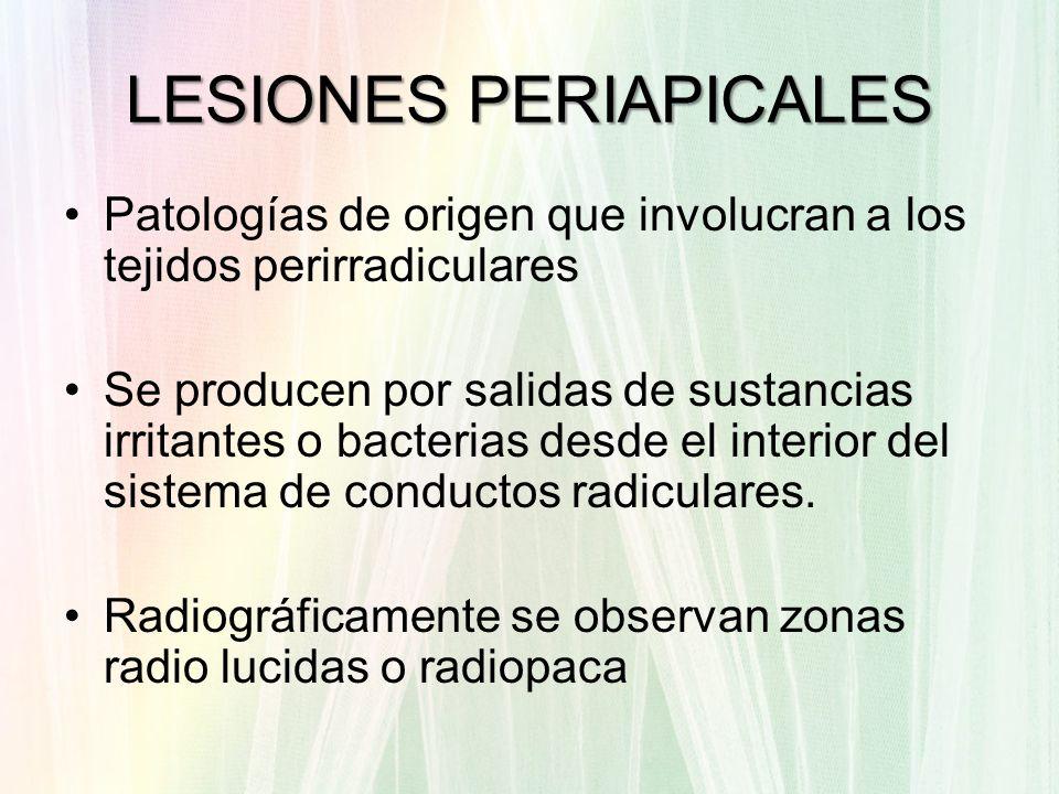 LESIONES PERIAPICALES Patologías de origen que involucran a los tejidos perirradiculares Se producen por salidas de sustancias irritantes o bacterias