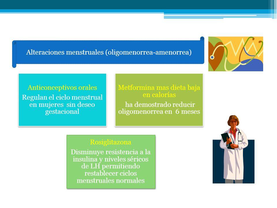 nas Alteraciones menstruales (oligomenorrea-amenorrea) Anticonceptivos orales Regulan el ciclo menstrual en mujeres sin deseo gestacional Metformina m