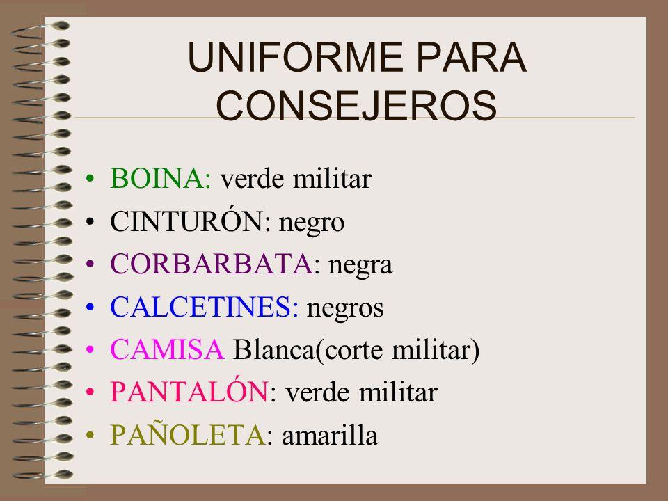 UNIFORME PARA NIÑOS PANTALÓN: Kaki, (largo sin ruedo o dobladillo) CAMISA: Blanca(de corte militar) CALCETINES: negros BOINA: negra CINTURÓN: negro CO