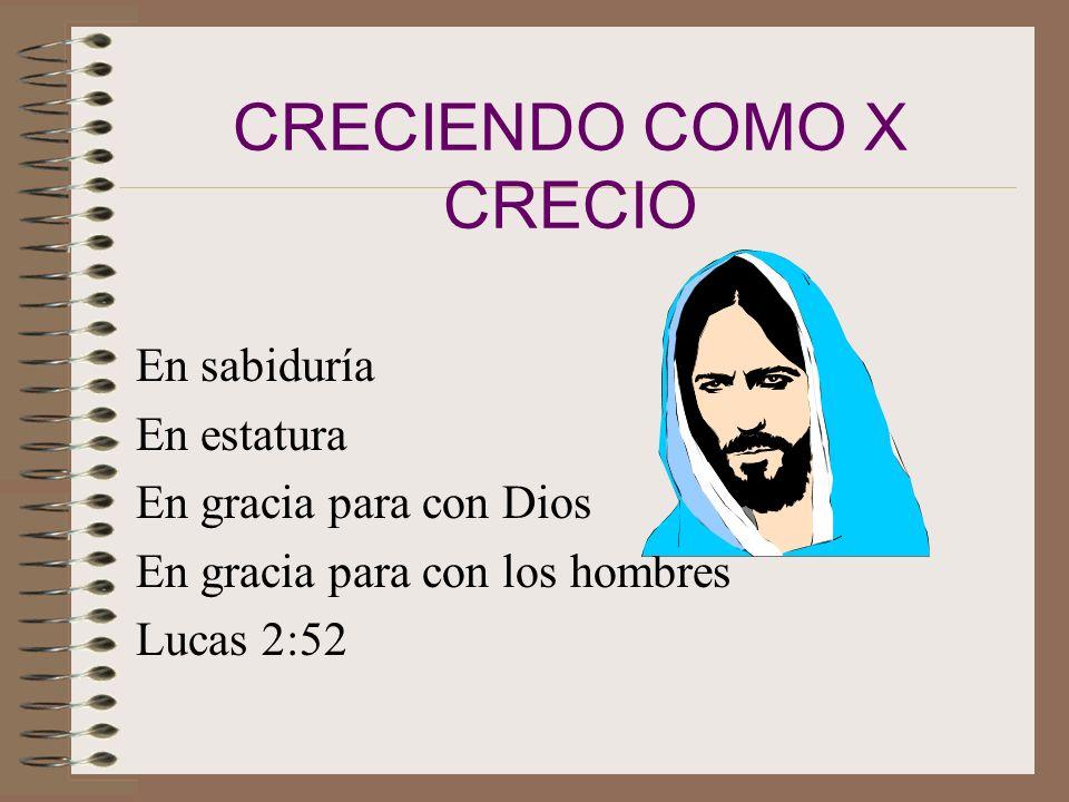 CRECIENDO COMO X CRECIO En sabiduría En estatura En gracia para con Dios En gracia para con los hombres Lucas 2:52