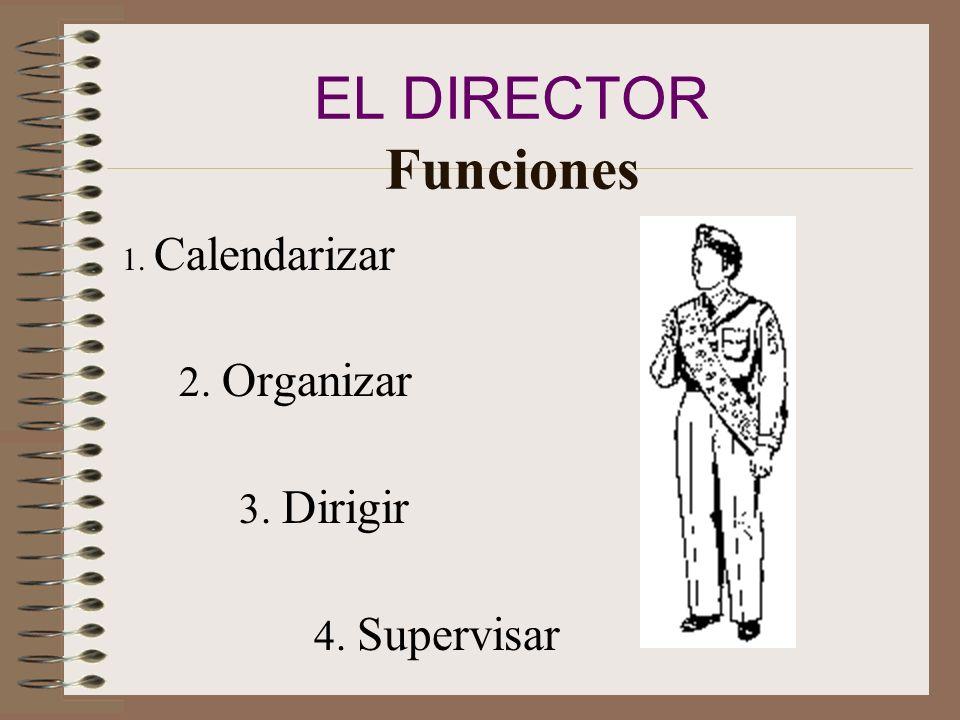 EL DIRECTOR Funciones 1. Calendarizar 2. Organizar 3. Dirigir 4. Supervisar