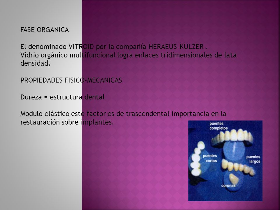 FASE ORGANICA El denominado VITROID por la compañía HERAEUS-KULZER. Vidrio orgánico multifuncional logra enlaces tridimensionales de lata densidad. PR