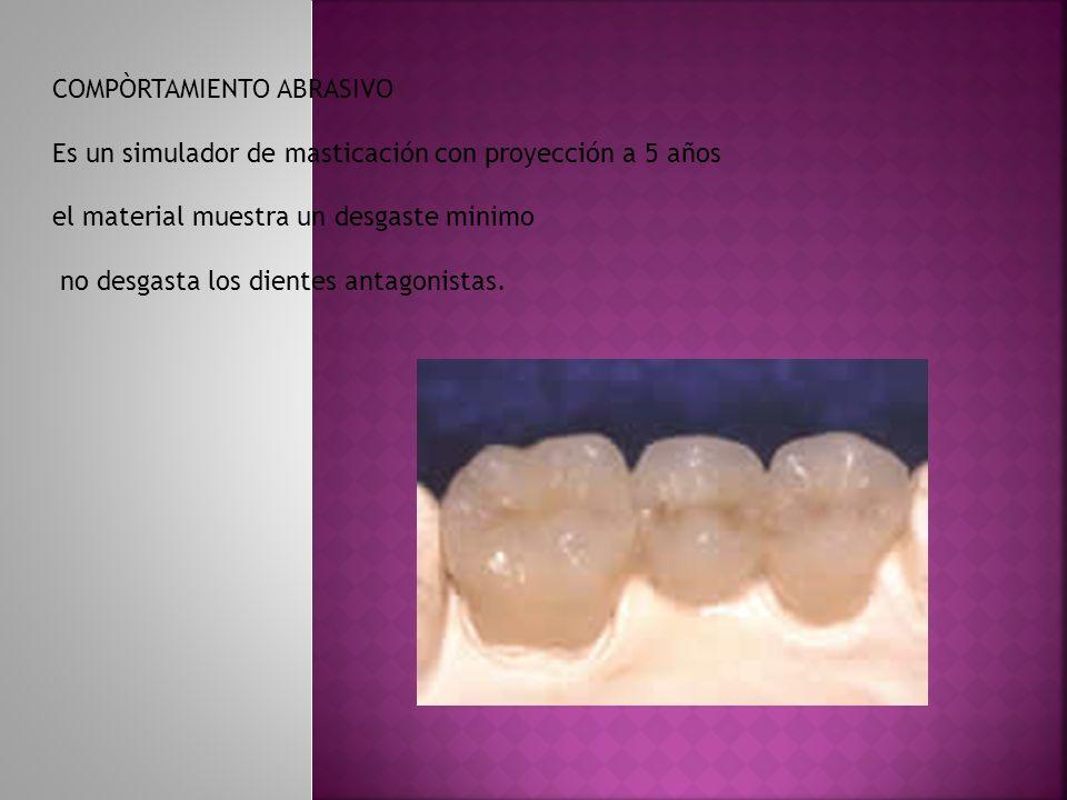 COMPÒRTAMIENTO ABRASIVO Es un simulador de masticación con proyección a 5 años el material muestra un desgaste minimo no desgasta los dientes antagoni