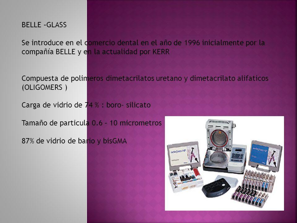 BELLE –GLASS Se introduce en el comercio dental en el año de 1996 inicialmente por la compañía BELLE y en la actualidad por KERR Compuesta de polimero