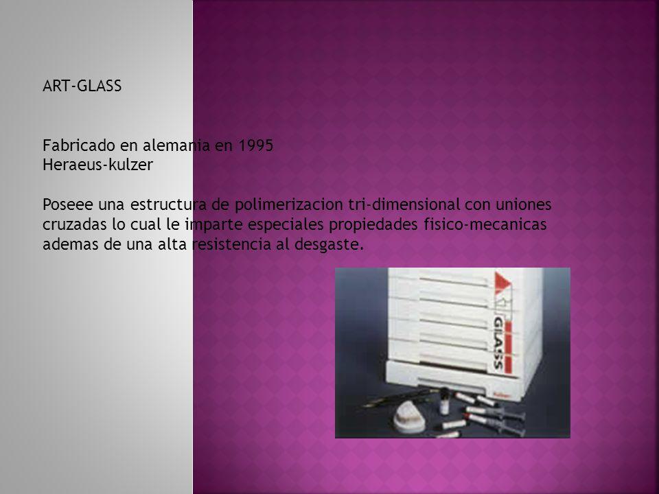 Fracciones inorganiocas: Vidrio : vidrio de bario radio-opaco Tamaño de particula : 0.7 micrometros Silice coloidal Otros componentes: Accido silicico: para alta densidad, facilidad de modelado Microglass: vidrio de bario –aluminio de forma esferica Tamaño particlua: 0.07 micrometros