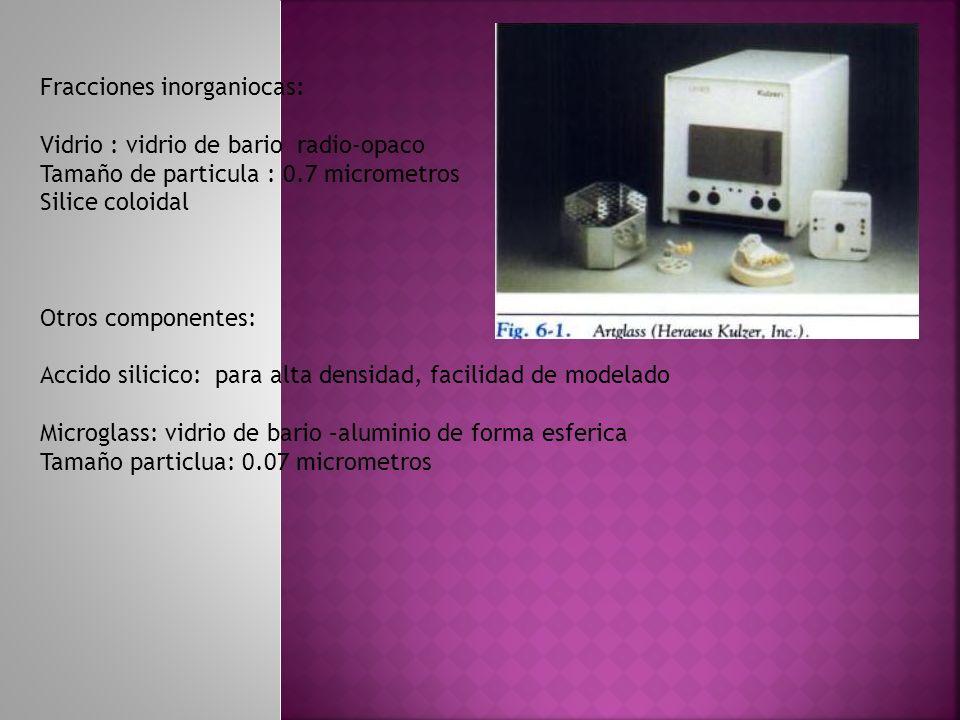 Fracciones inorganiocas: Vidrio : vidrio de bario radio-opaco Tamaño de particula : 0.7 micrometros Silice coloidal Otros componentes: Accido silicico