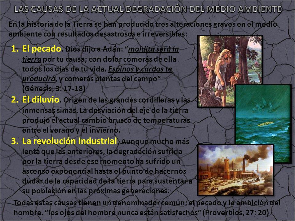 En la historia de la Tierra se han producido tres alteraciones graves en el medio ambiente con resultados desastrosos e irreversibles: 1.El pecado. Di