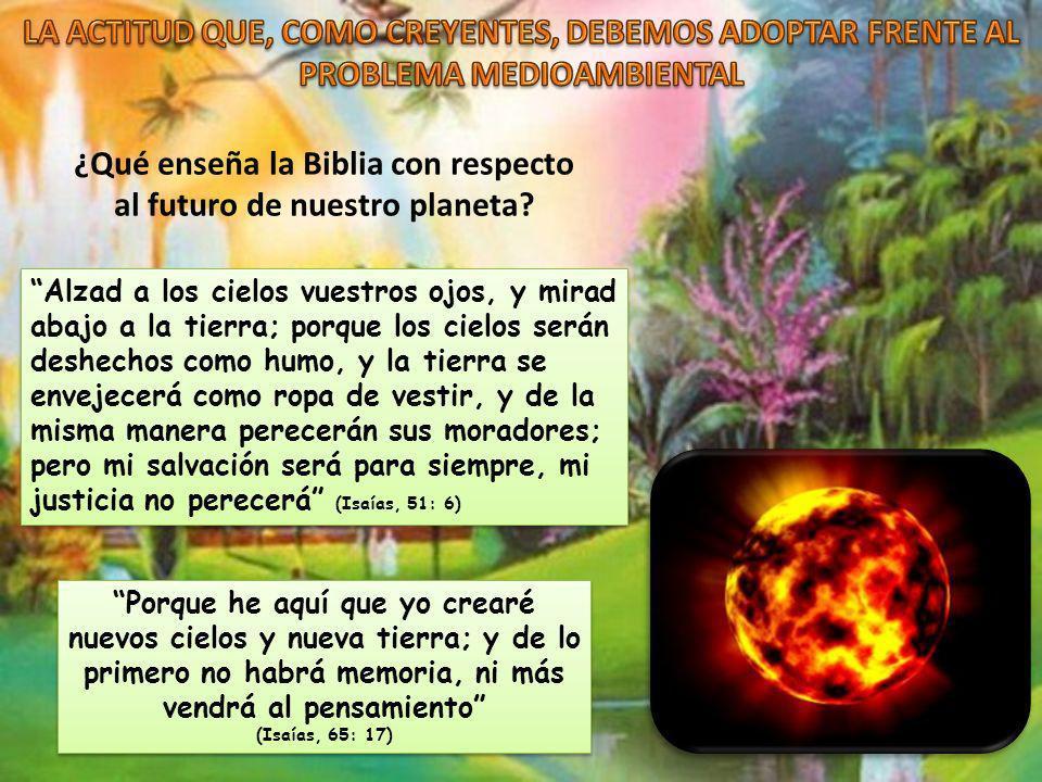 ¿Qué enseña la Biblia con respecto al futuro de nuestro planeta? Porque he aquí que yo crearé nuevos cielos y nueva tierra; y de lo primero no habrá m