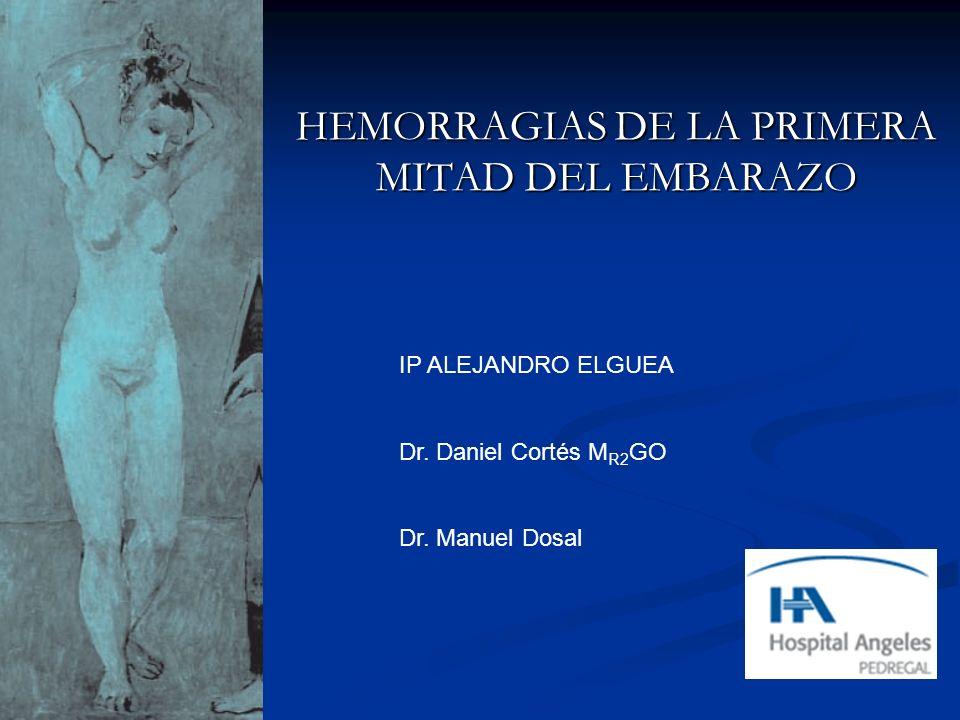 HEMORRAGIAS DE LA PRIMERA MITAD DEL EMBARAZO IP ALEJANDRO ELGUEA Dr. Daniel Cortés M R2 GO Dr. Manuel Dosal