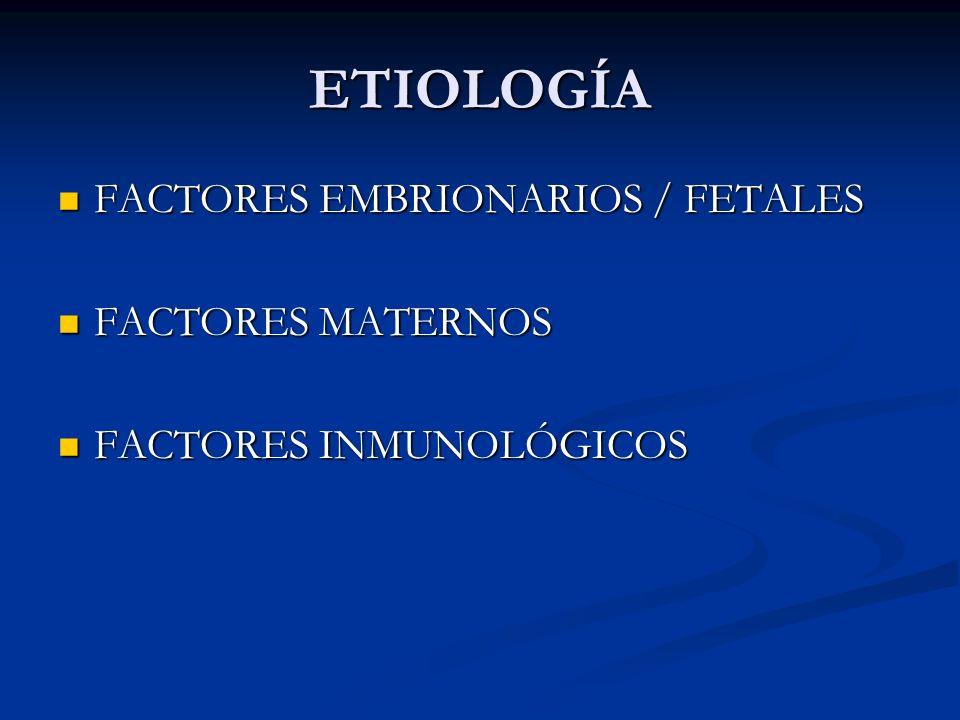 ETIOLOGÍA FACTORES EMBRIONARIOS / FETALES FACTORES EMBRIONARIOS / FETALES FACTORES MATERNOS FACTORES MATERNOS FACTORES INMUNOLÓGICOS FACTORES INMUNOLÓ