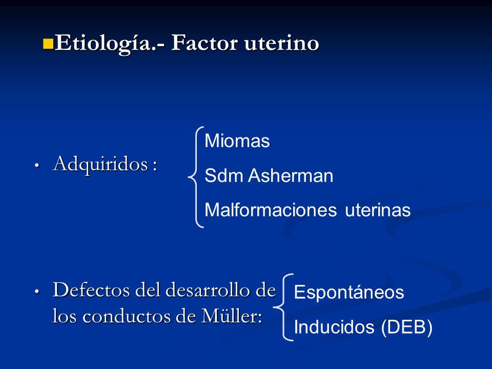 Miomas Sdm Asherman Malformaciones uterinas Espontáneos Inducidos (DEB) Adquiridos : Adquiridos : Defectos del desarrollo de los conductos de Müller: