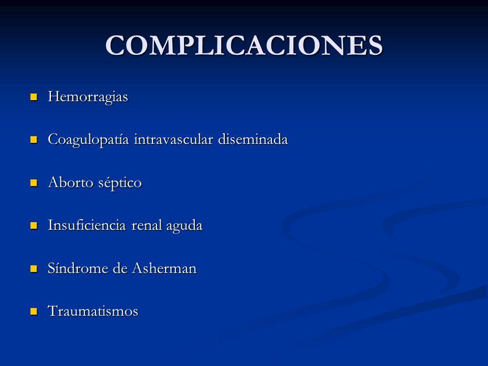 COMPLICACIONES Hemorragias Hemorragias Coagulopatía intravascular diseminada Coagulopatía intravascular diseminada Aborto séptico Aborto séptico Insuf