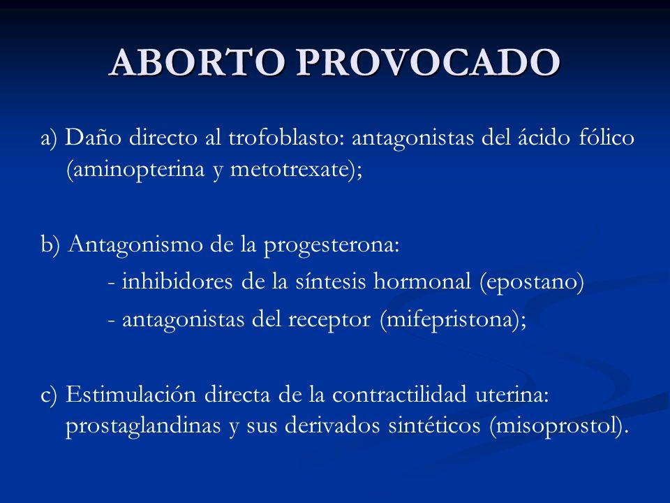 ABORTO PROVOCADO a) Daño directo al trofoblasto: antagonistas del ácido fólico (aminopterina y metotrexate); b) Antagonismo de la progesterona: - inhi